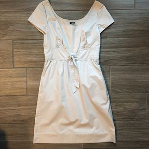 J Crew Cotton Poplin Tie Front Dress - Bone White